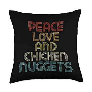 Funny Quote Gifts & More Peace Love And Chicken Nuggets Apparel Funny Quote Gift Throw Pillow 18x18 Multicolor
