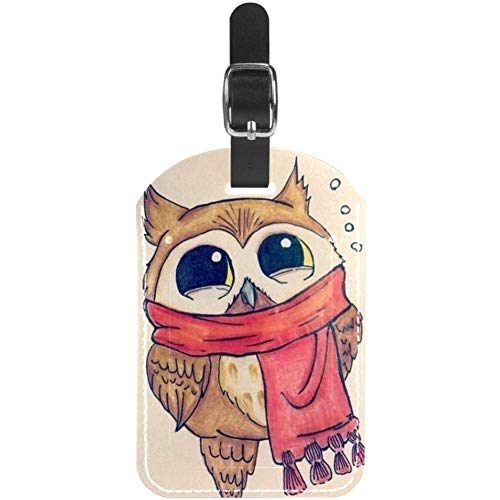 Luggage Tags Winter Scarf Owl Leather Travel Suitcase Labels 1 Packs