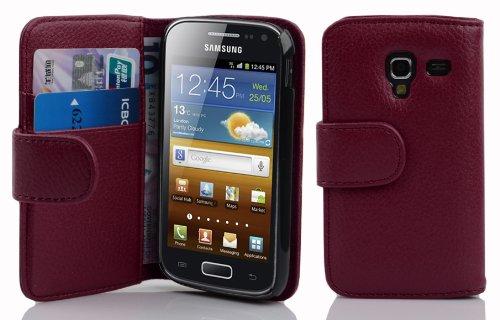 Cadorabo Samsung Galaxy Ace 2 Funda de Cuero Sintético Estructura en Burdeos Violeta Cubierta Protectora Estilo Libro con Cierre Magnético, Tarjetero y Función de Suporte Etui Case Cover Carcasa