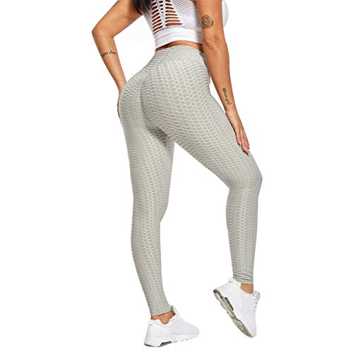 DUTISON Women Yoga Pants Ladies High Waist Bubble Hip Lifting Sports Outdoor Fitness Running Leggings Sweatpants Gray