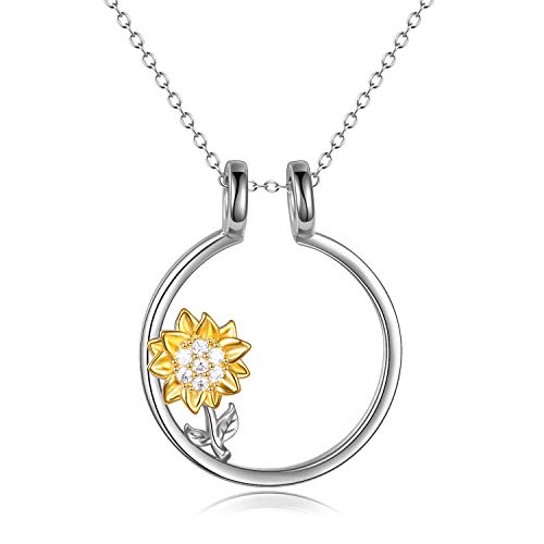 YFN Sterling Silver Ring Holder Keeper Heart Pendant Necklace with Sunflower for Women Chain 18+2' (Ring Holder Necklace with Sunflower) (Yellow)
