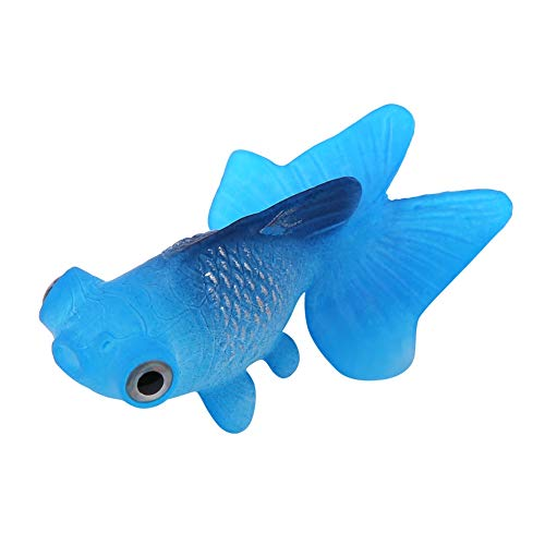 Pssopp Künstliche Fische Silikon Fische Silikon Goldfisch Betta Fisch Lebensechte Künstliche Fische Ornament Schwimmende Fische Aquarium Dekoration Künstliche Bunte Fische (Blauer Goldfisch)