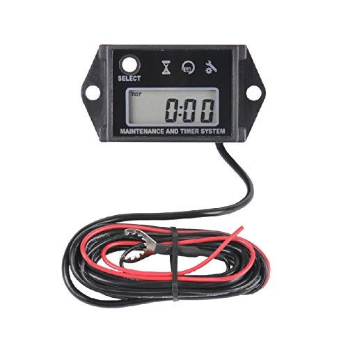 Runleader Digital Hour Meter Tachometer for Small Engine, Maintenance Reminder, Max RPM Recall, User Shutdown, Use for ZTR Lawn Mower Generator Marine Outboard ATV and Gas Powered Equipment(Black)
