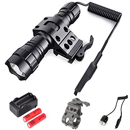 Tactical Flashlight Rail Mounted LED Lights Super Bright 1200 Lumens Weapon Light Rechargeable Waterproof with Pressure Switch Picatinny Rail Mount Batteries Included Outdoor Hunting Shooting
