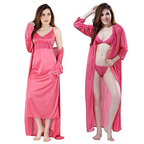 Romaisa Women's Satin Plain/Solid Nightwear Set of 4 Pcs -...