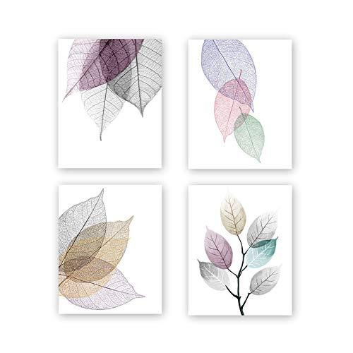 Póster de flores abstractas sin marco, estilo nórdico, negro y blanco, diseño hoja rosa, juego 3 unidades (8 pulgadas x 10 pulgadas) para decoración pared moderna, regalo inauguración la casa