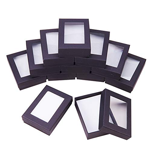 NBEADS 24 Pcs Black Gift Boxes Presentation Box with Padding - Birthday Gift Box - Necklace Box Earring Box Ring Box Cardboard Jewellery Boxes, 9x6.5x2.8cm