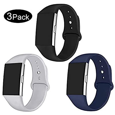 GHIJKL 3 Packs Sport Bands Compatible with Fitbit Charge 2, Soft Silicone Adjustable Replacement Wristbands for Fitbit Charge 2, Women Men, Large Small