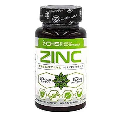 Zinc Citrate | 50mg x 80 Capsules (Zinc from Zinc Citrate 15mg) | 80 Day's Supply | Immune System Support Supplement | High Strength Zinc Capsules by Cvetita Herbal