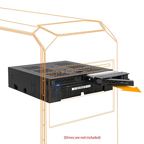 "ICY DOCK 2 x 2.5"" SATA/SAS HDD/SSD to 5.25"" Hot Swap Mobile Rack Cage w/ 3.5"" Drive/Device Bay- ExpressCage MB322SP-B"