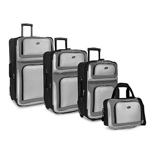 U.S. Traveler New Yorker Lightweight Softside Expandable Travel Rolling Luggage Set, Grey, 4-Piece (15/21/25/29)