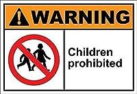 2個 子供禁止警告ブリキの看板金属板装飾看板家の装飾プラーク看板地下鉄金属板8x12インチ メタルプレートブリキ 看板 2枚セットアンティークレトロ