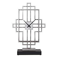 Uttermost Vanini Tabletop Clock in Antique Silver