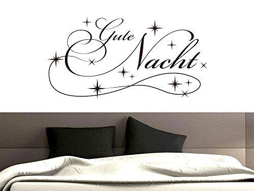 GRAZDesign Schlafzimmer Wandtattoo Gute Nacht mit Sternen, Wandsticker Spruch über Schlaf, Wandtattoo Deko über Bett / 111x57cm / 010 Weiss