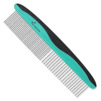 YOPETAYU Pet Comb for Long & Short Haired dog, cat, bunny & other pets. Removes Tangles Hair, Knots, Loose Fur & Dirt. Has a Comfortable Non-Slip Handle, wide & narrow Stainless Steel Teeth by JOY-PET