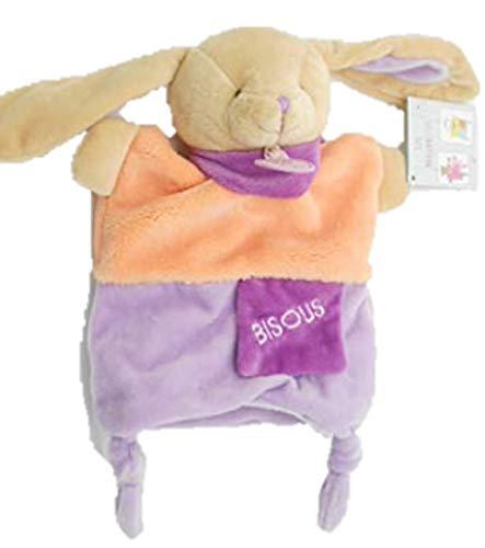 Doudou et Compagnie - Peluches et Doudous - Doudou marionnette Lapin - Collection : Petit Secret - Peluche bébé 25 cm - étiquette Bisous - Violet parme et orange - Genre : bébé fille