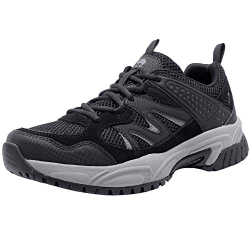 CAMELSPORTS Hiking Shoes Men Lightweight Non-Slip Breathable Sneakers Low Top Walking Shoes for Outdoor Trailing Trekking Walking Climbing Black