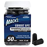Mack's Covert Ops Soft Foam Shooting Ear Plugs, 50 Pair – 32 dB High NRR, Comfortable Earplugs for...
