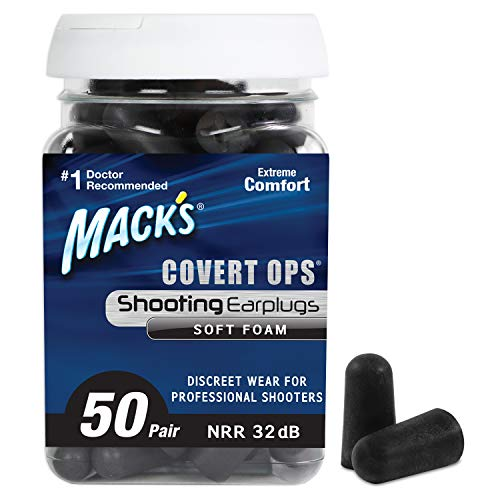 Mack's Covert Ops Soft Foam Shooting Ear Plugs, 50 Pair – 32 dB High NRR, Comfortable Earplugs for Hunting, Tactical, Target, Skeet and Trap Shooting