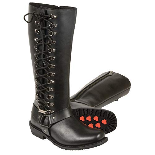 Milwaukee Leather MBL9365 Ladies Black 14 Inch Classic Harness Square Toe Leather Tall Boots with Lacing - 8