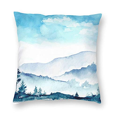 Watercolor Mountains Decorative Pillow Covers 18'' X 18'' Blue and White Throw Pillow Case for Living Room Soft Solid Cushion Case for Sofa Bedroom