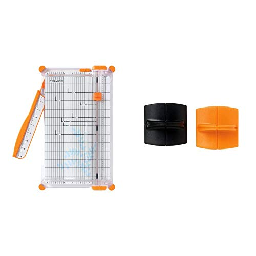 Fiskars 152490-1004 SureCut Deluxe Craft Paper Trimmer, 12 Inch & 01-001555J TripleTrack High Profile Replacement Blades Cut/Score Style I, 1.5x1.5x1 Inch, Black and Orange