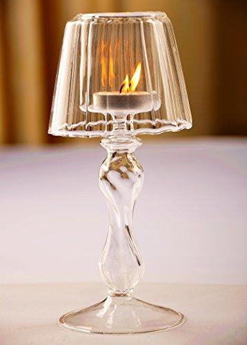 PETSOLA Kerzenhalter Aus Glas Mit Langem Stiel, Dekoratives Herzstü des S Kaffeetisches, Kerzenhalter Set Für Esstischdekorationen, Geschenke Zum Geburtstag