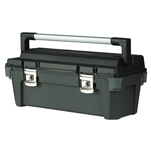 """Stanley Werkzeugbox / Werkzeugkoffer Pro (26"""", 65.1x27.6x26.9cm, Handgriff aus Metall, verschließbarer Werkzeugtrolley mit Ösen, Box mit Metallschließen, Schutz durch Gummikanten) 1-92-258"""