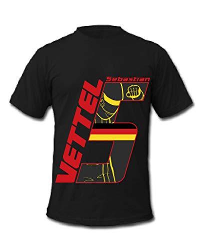 Cold Gun F1 Sebastian Vettel 5 Formel 1 Racing Driver T-Shirt Gr. XL, Schwarz