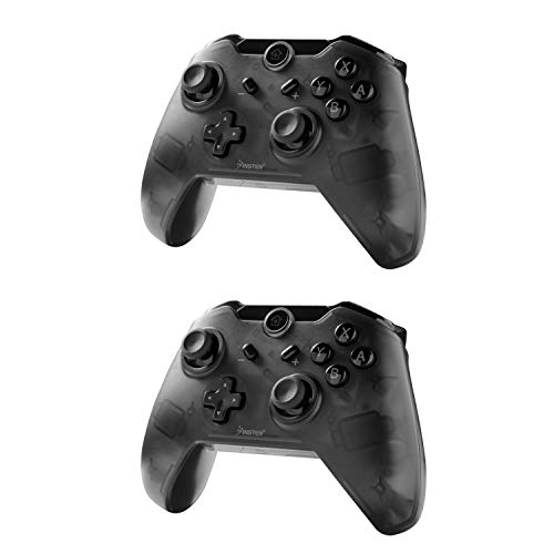 Compatible with Nintendo Switch Pro Controller 2-Pack, Insten Wireless Pro Controller bt Gamepad Joypad with Motors Gyro Axis Compatible with Nintendo Switch & Lite 2019, Black (w USB charging cable)