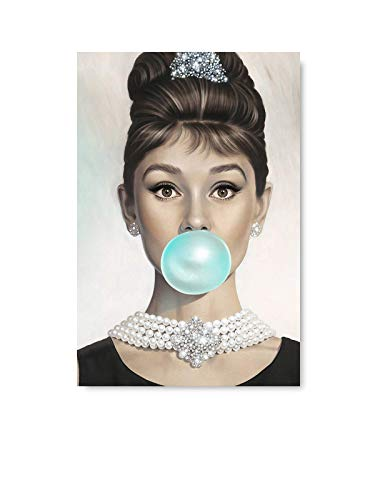 Funny Ugly Christmas Sweater Audrey Hepburn Blowing Bubble Gum Poster Old Movie Star Fashion Illustration for Office Decor 24' x 36'
