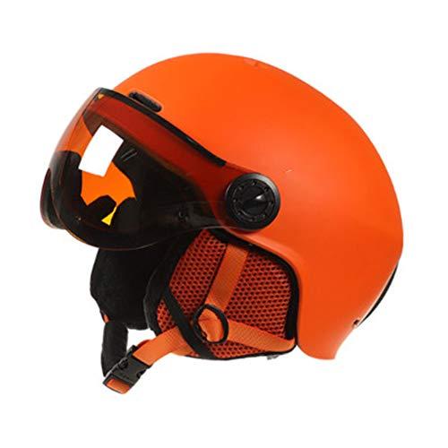Casco de esquí Casco de Seguridad con Gafas integradas de protección Masculina y Femenina de protección de Casco de esquí-Orange-L(58-62cm)