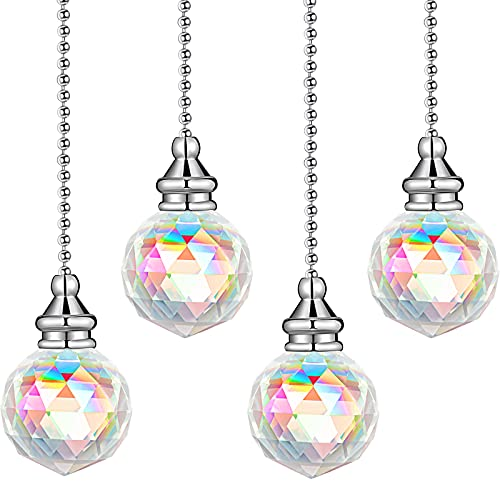 4 Pieces Crystal Pendant Pull Chains Crystal Ceiling Fan Chain Extension Crystal Prism Chain Extender for Bathroom Toilet Living Room Ceiling Light Fan (AB Color)