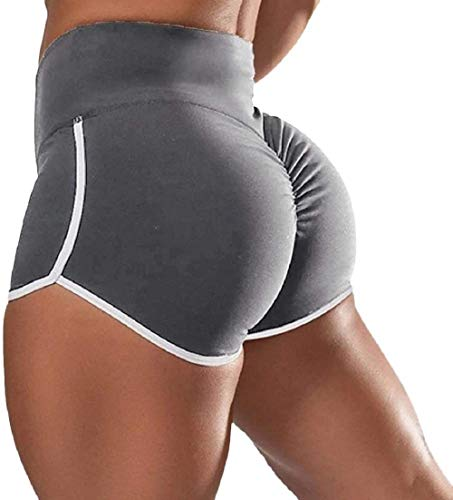 FJLK 2Pcs Womens High Waist Yoga Shorts Ruched Push Up Sports Casual Gym Workout Hot Pants,Sports Butt Scrunch Push Up Short Silk Slim Gym Workout Yoga Hot Pants (Gris, 5XL)