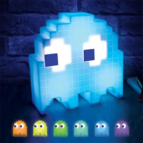 LHYXH Pac-Man Ghos luz de Noche LED Pixel Wars Colorida lámpara de Escritorio de Mesa Fiesta niños atmósfera Lampara Comer Guisantes luz Chico(White,S)