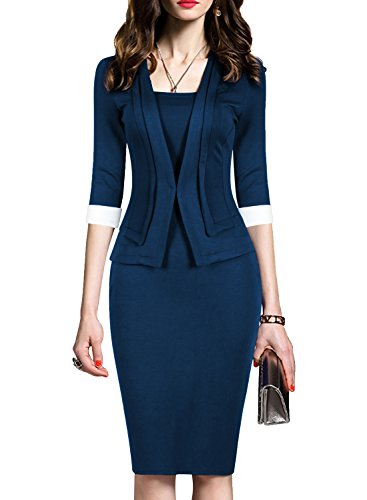WOOSEA Women's 2/3 Sleeve Colorblock Slim Bodycon Business Pencil One-Piece Dress (Navy Blue, Large)