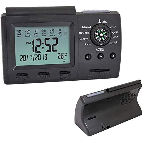 Tafelklok, Digital Muslim Prayer Alarm islamitische met Qibla Compass Desktop Clock, The Complete for All Gebeden Qibla Direction,Black