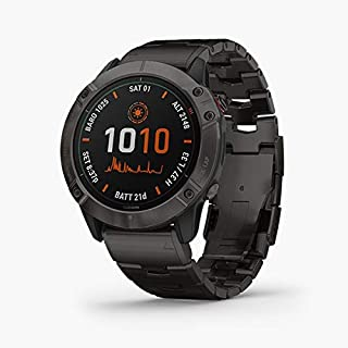Garmin Titanium Fenix 6X Pro Solar Titanium with Vented Titanium Bracelet Sunlight Gives Your Watch A Free Energy Boostextending Time Between Charges