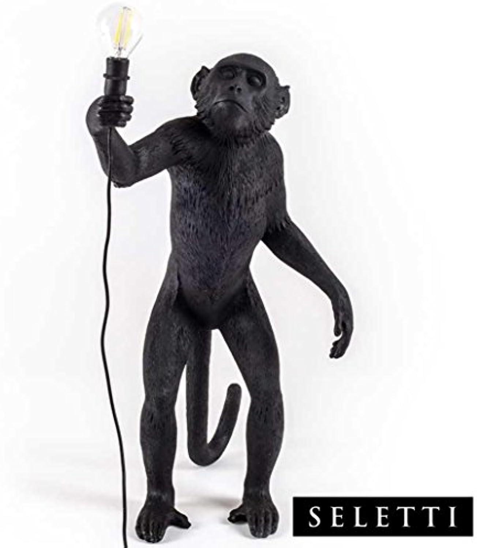 Seletti Monkey Lamp Stehend Schwarz, Harz, 60 x 52,5 x 33 cm