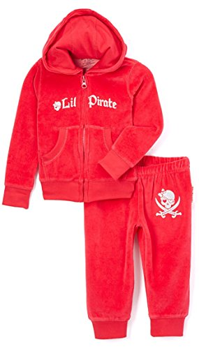 SILLY SOULS Lil 'Pirate Infant bébé Fille Coton Sweatsuit Rouge Noir Blanc - Rouge - 3 Mois