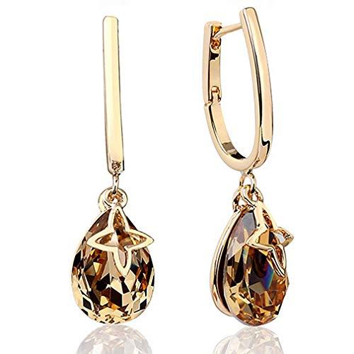 YAXUN Damen Ohrringe Gold Ohrhänger Vergoldet, Golden Kristall Teardrop Tropfen Hängend Ohrringe mit Österreichischer Citrin, Schmuck Geschenke für Frauen, mit Exquisite Schmuck Geschenkbox
