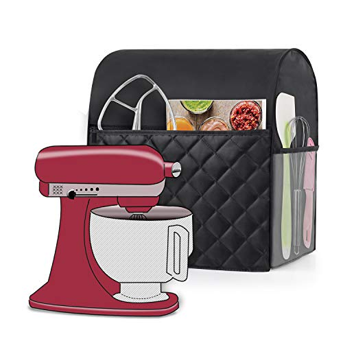 Luxja Copertura per Impastatrice Planetaria, Copertura per KitchenAid Robot da Cucina e Accessori (Adatto per 4,3 litri e 4,8 litri), Trapuntato Nero