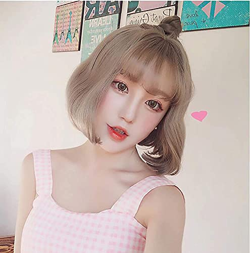 Brown Loose Wave Short Bob Wig with Fringe for Women Natural Looking Straight Ladies Party Cosplay Wigs for Women Girls
