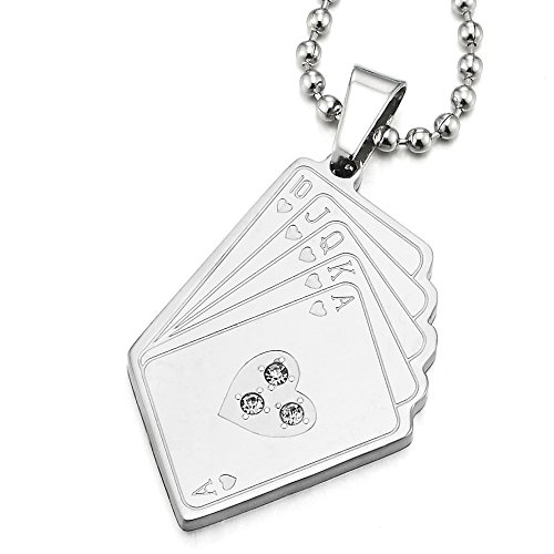 COOLSTEELANDBEYOND Royal Flush Corazón Tarjeta Poker Colgante con Circonio Cúbico, Collar de Hombre Mujer, Acero, Bola Cadena 60CM
