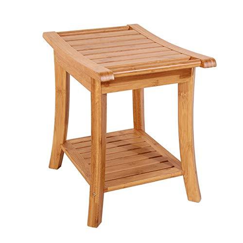 Duschhocker Holz Behinderten Handlauf Rutschfester Duschstuhl Schwangeren Badehocker Kann bis zu 250Kg widerstehen,60 * 33 * 46cm