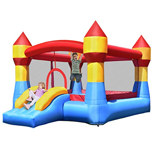 Costzon Inflatable Bounce House, Castle Jumper Playhouse w/Mesh Walls, Slide, Kids Party Jump Bouncer, Indoor Outdoor Use, Including Carry Bag, Repair Kit, Stakes (Without Blower)