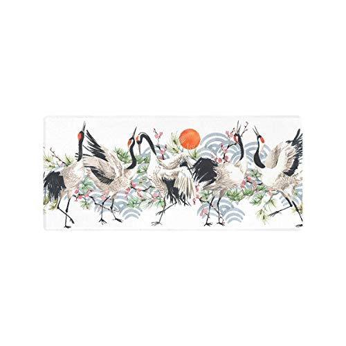 35x16 Inch Gaming Large Mousepad Watercolor Japanese Crane Bird Seamless Pc Gaming Pad Non-Slip Rubber Laptop Mat for Desk with Funny Art Design Laptop Mat for Desk for Laptop Working Or Game