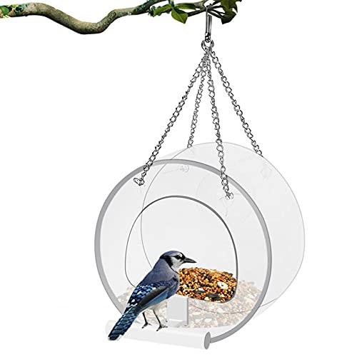 GLAITC Comedero para Pájaros Acrílico Transparente Ventana de Casa de Pájaros sin Taladro con Cuchara de alimentación con Ventosa Alimentador De Aves Abierto para Colgar en Forma de Casa