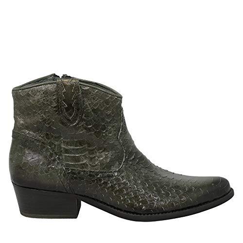 Felmini - Zapatos para Mujer - Enamorarse com West B828 - Botines Cowboy & Biker - Cuero Genuino - Verde