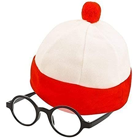 Robelli Kid's Large Red & White Striped Fancy Dress Hat & Glasses (WORLD BOOK WEEK DAY)